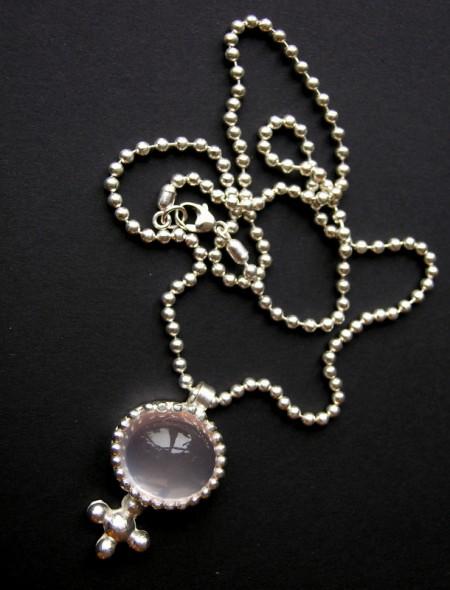 Necklace, silver rose quartz