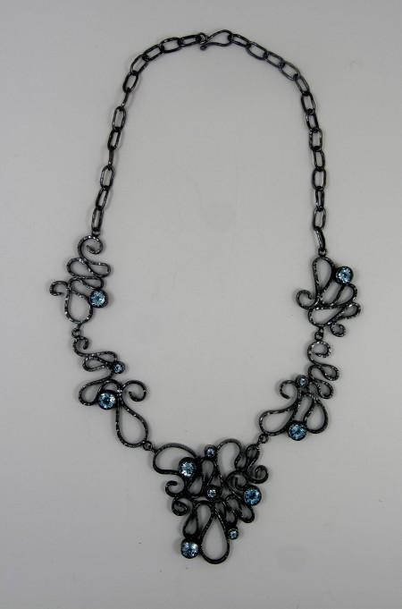 Ornament, necklace, black silver, topas
