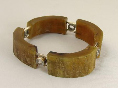 Bracelet, horn, silver, topas