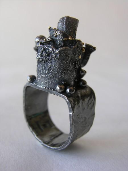 Rosegarden, ring, silver, goldgrains
