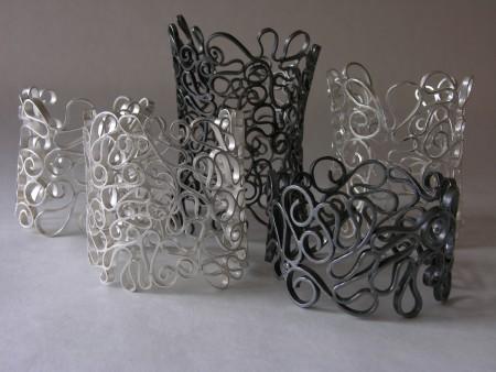 Ornament, bracelets, silver, black silver