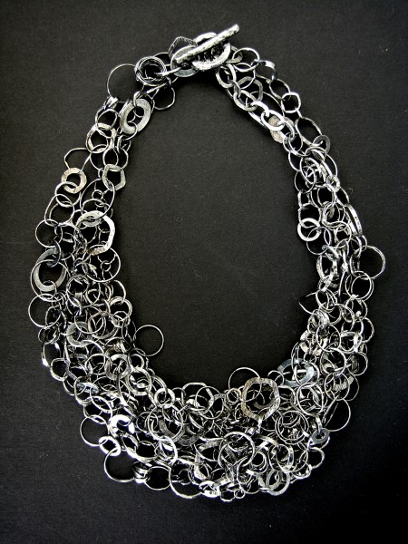 Chains, necklace, handmade, black silver