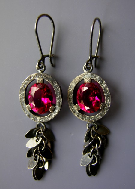 Red, earrings silver rubies (syntetic)