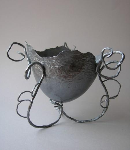 bowl, black silver