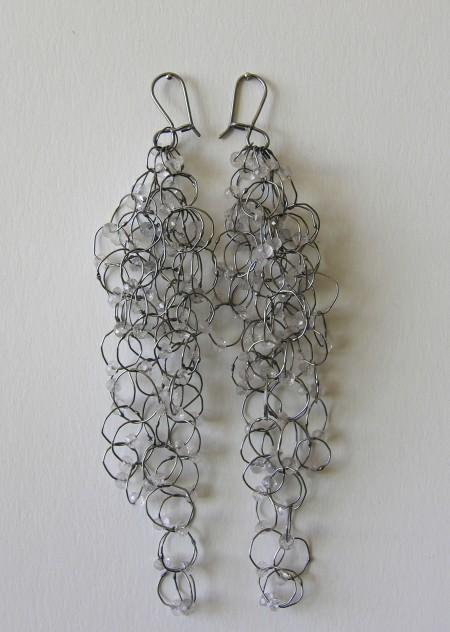 Earringas, black silver,